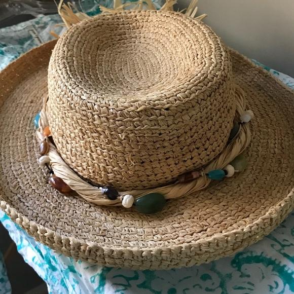 SCALA hat w beaded and raffia trim. M 5b510bd14cdc30ecc63a8633 3f9904ca549e